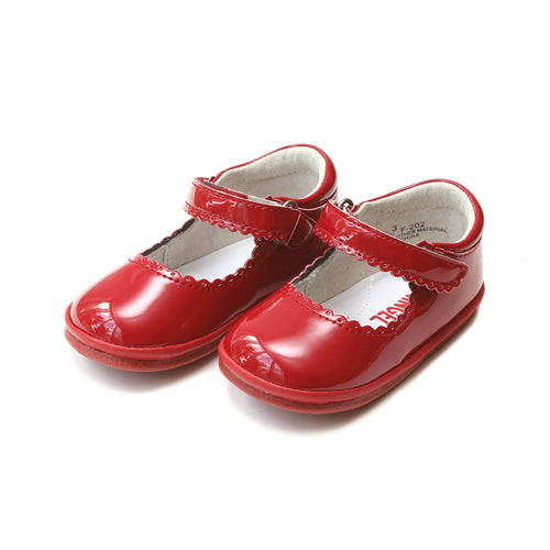 Cara Red Scalloped Mary Jane (Baby) - Angel Baby Shoes