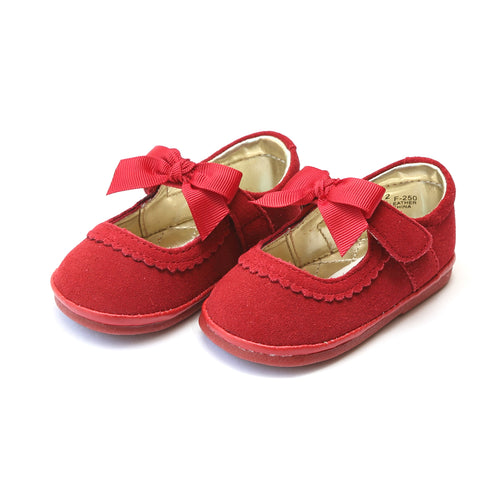 Elsa Red Suede Leather Grosgrain Bow Strap Mary Jane (Baby) - Angel Baby Shoes