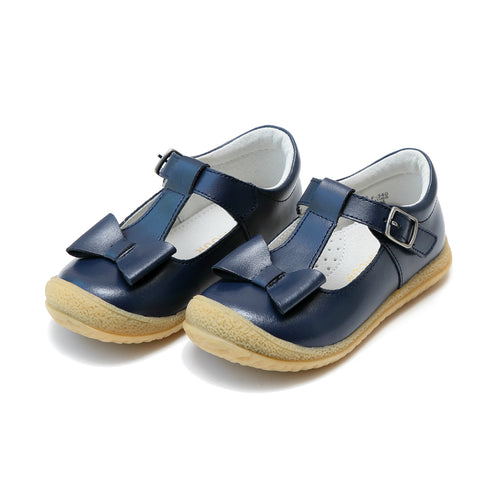 L'Amour Girls Emma Navy Bow T-Strap Mary Jane - Lamourshoes.com