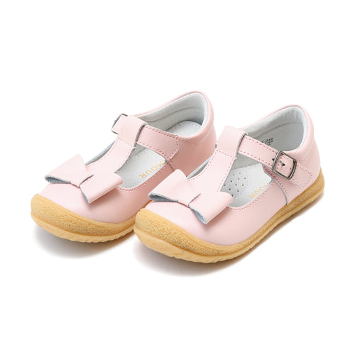 L'Amour Girls Emma Pink Bow T-Strap Mary Jane - Lamourshoes.com