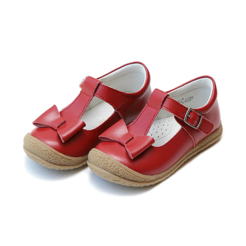 Emma Classic Red Bow T-Strap Mary Jane - L'Amour Shoes