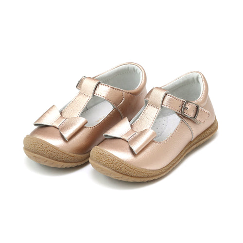 L'Amour Girls Emma Rosegold Shimmer Bow T-Strap Mary Jane - Lamourshoes.com