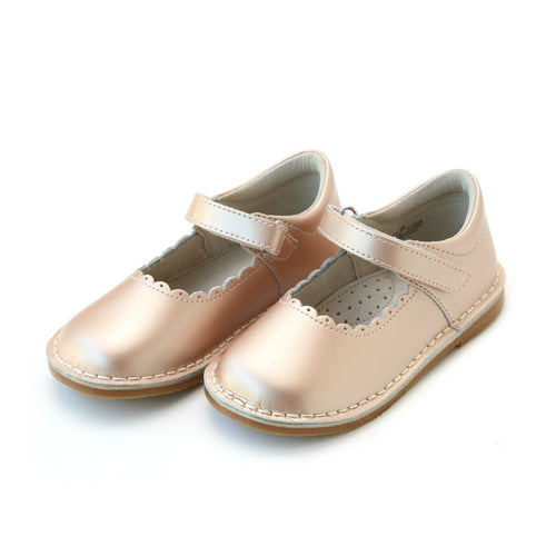 Caitlin Girls Pink Gold Scalloped Stitch Down Leather Mary Jane - ONLINE EXCLUSIVE at L'Amour Shoes