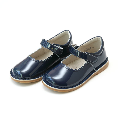 L'Amour Shoes Caitlin Patent Navy Scalloped Stitch Down Mary Jane - Lamourshoes.com