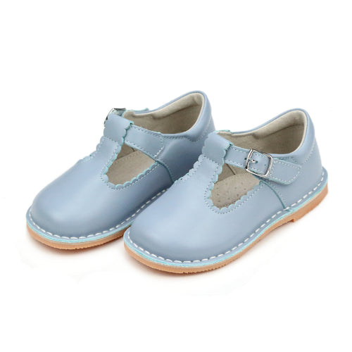 L'Amour Shoes Selina Dusty Blue Scalloped T-Strap Stitch Down Mary Jane
