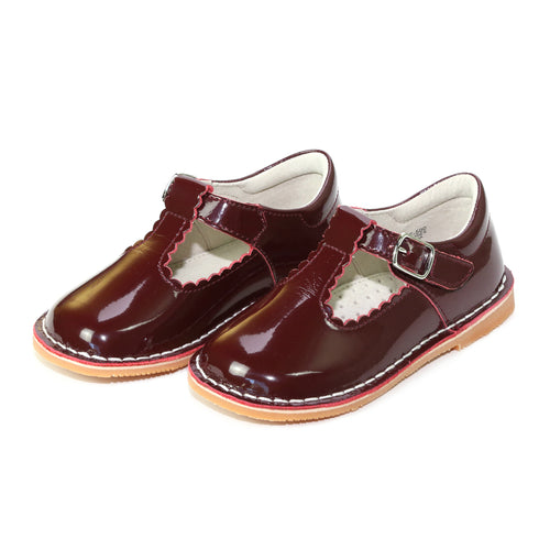 L'Amour Shoes Selina Patent Burgundy Scalloped T-Strap Stitch Down Mary Jane