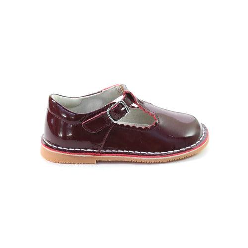 L'Amour Shoes Selina Patent Burgundy Scalloped T-Strap Stitch Down Mary Jane - Side
