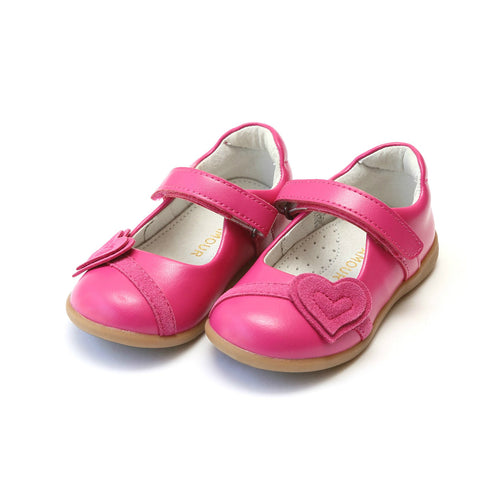 Cora Fuchsia Leather Double Heart Sporty Mary Jane - L'Amour Shoes