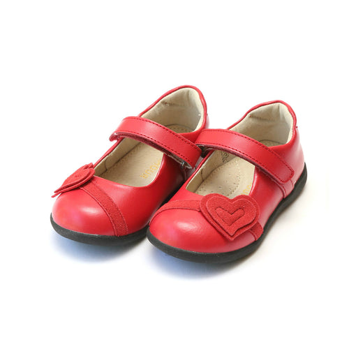 Cora Red Leather Double Heart Sporty Mary Jane - L'Amour Shoes