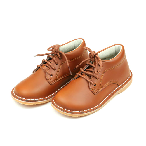 Tuck Stitch Down Mid-Top Cognac Lace Up Shoe - L'Amour Shoes