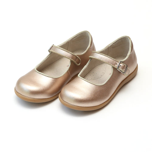 Lauren Classic Rosegold Buckled Mary Jane with Grosgrain Piping - Lamourshoes.com