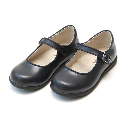 Lauren Classic Navy Buckled Mary Jane with Grosgrain Piping - Lamourshoes.com
