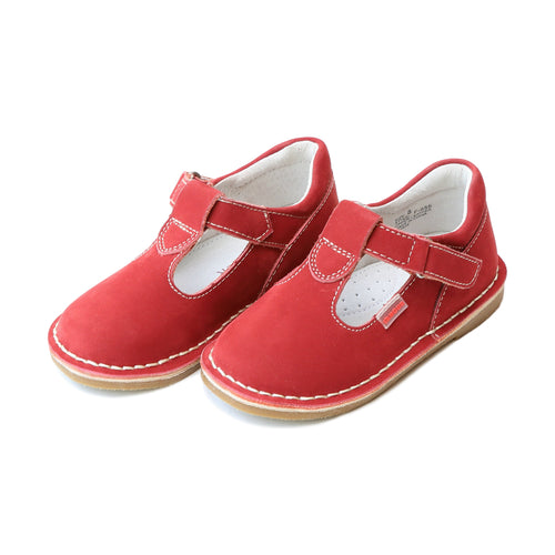 L'Amour Shoes Nubuck Red Alexis T-Strap Stitch Down Mary Jane - lamourshoes.com