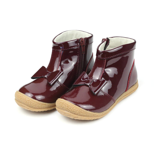 Hilary Bow Patent Burgundy Leather Boot - lamourshoes.com
