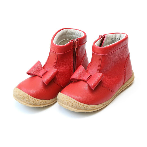 Hilary Bow Red Leather Boot - lamourshoes.com