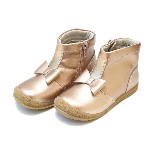 Hilary Bow Rosegold Leather Boot - lamourshoes.com