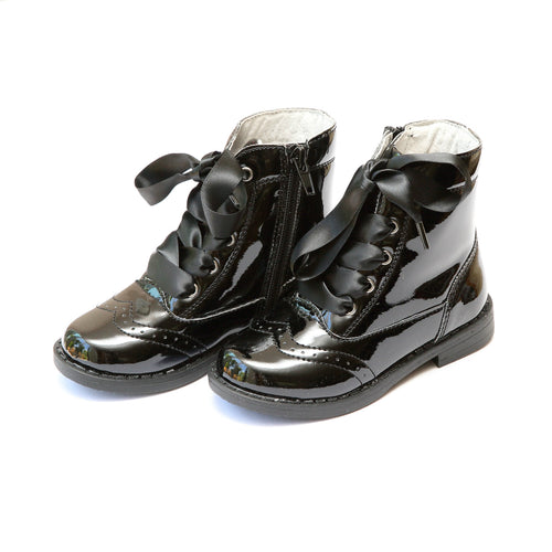 Stella Patent Black Wingtip Mid Boot - Lamourshoes.com