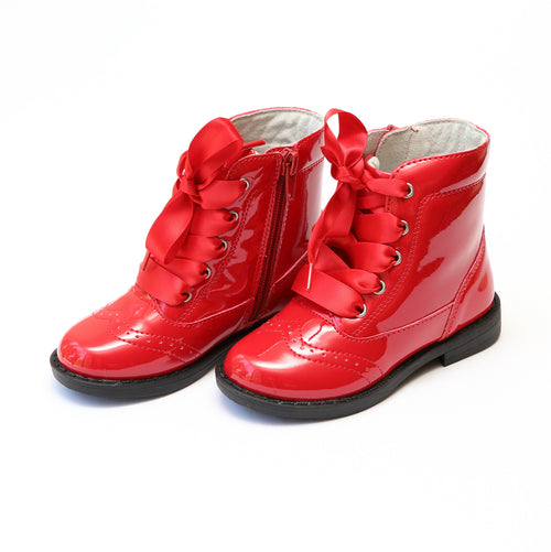 Stella Patent Red Wingtip Mid Boot - Lamourshoes.com