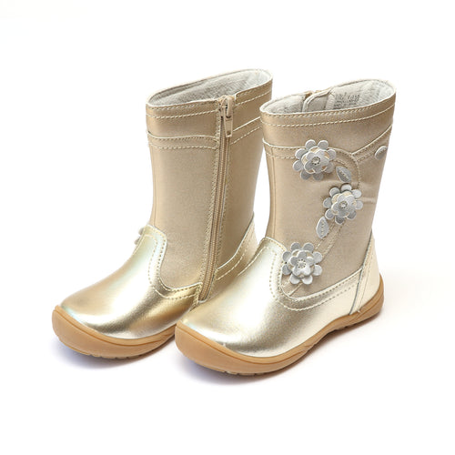 Brittany Gold Leather Stitched Flower Mid Boot - L'Amour Boots