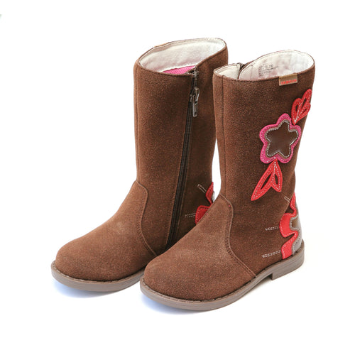 Fiore Leather Stitched Flower Tall Fashion Boot - L'Amour Boots