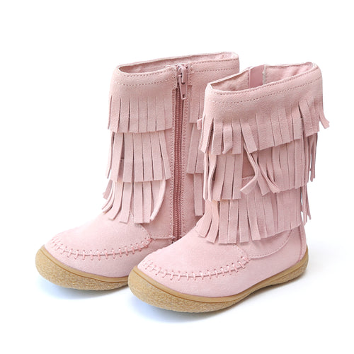 FINAL SALE: Winona 3-Layered Tiered Fringe Leather Mid Boot