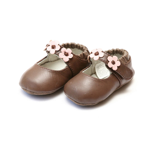 Hope Brown Soft Leather Flower Strap Crib Mary Jane (Infant) - L'Amour Baby Shoes