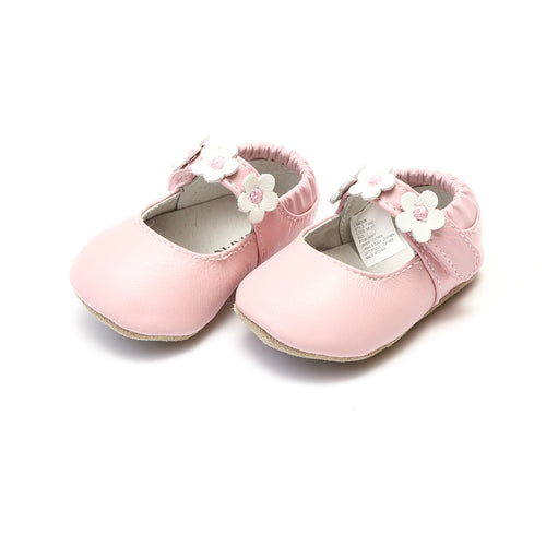 Hope Pink Soft Leather Flower Strap Crib Mary Jane (Infant) - L'Amour Baby Shoes