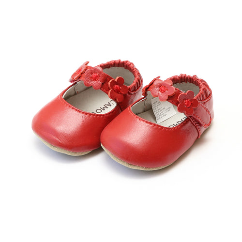 Hope Red Soft Leather Flower Strap Crib Mary Jane (Infant) - L'Amour Baby Shoes