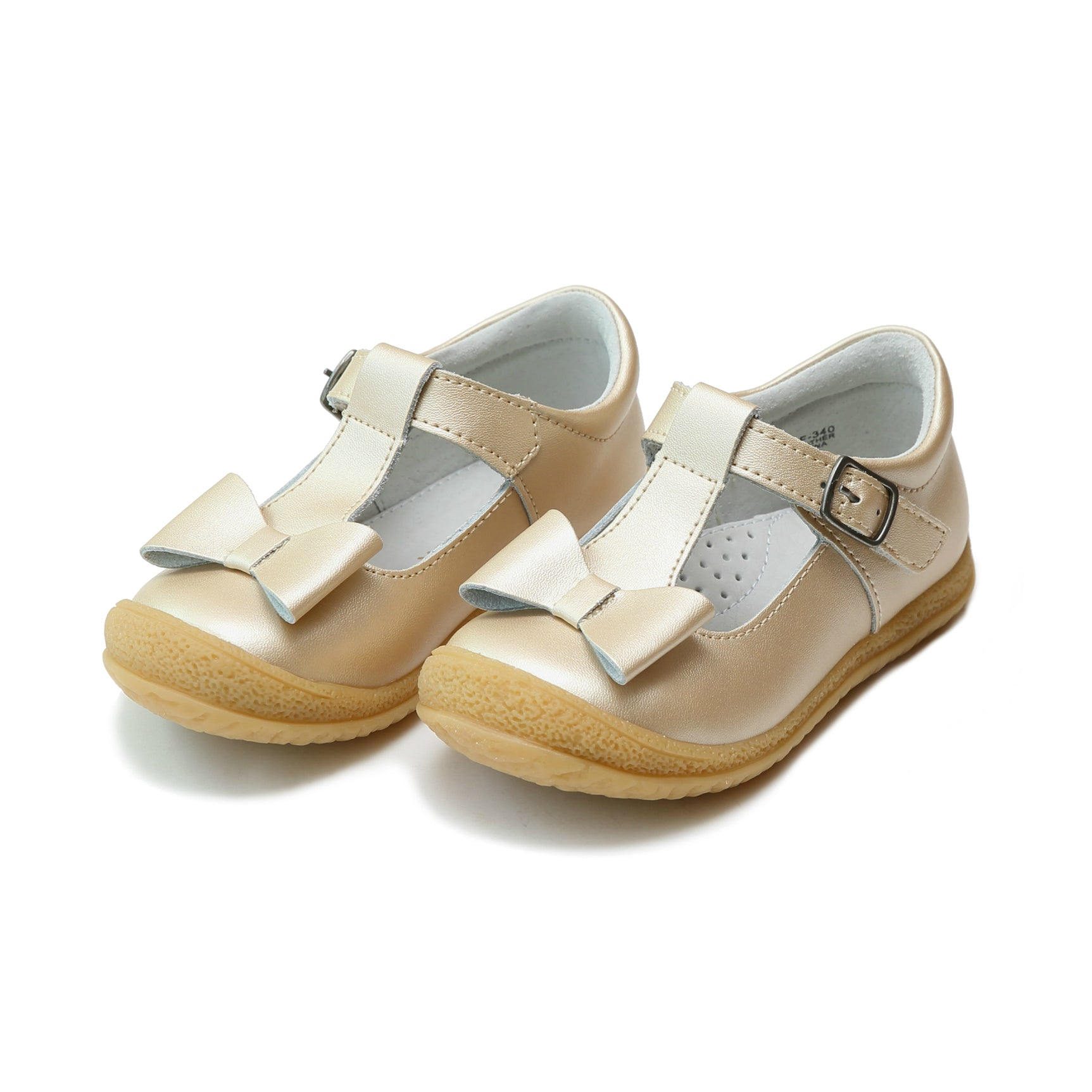 L'Amour Girls Shimmer Bow T-Strap Mary