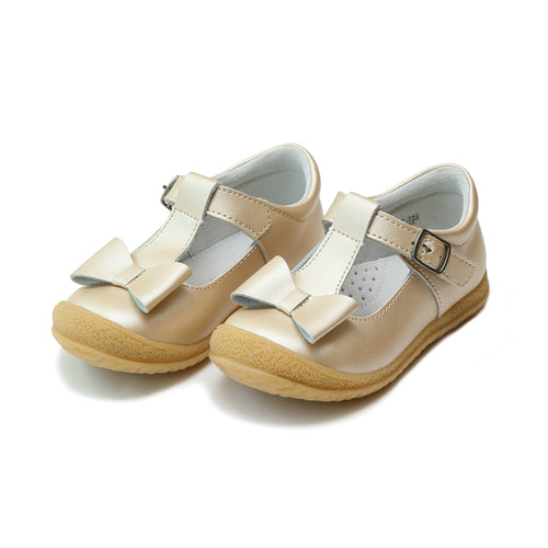 L'Amour Girls Emma Champagne Shimmer Bow T-Strap Mary Jane - Lamourshoes.com