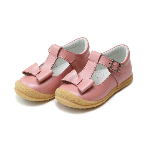 L'Amour Girls Emma Guava Shimmer Bow T-Strap Mary Jane - Lamourshoes.com