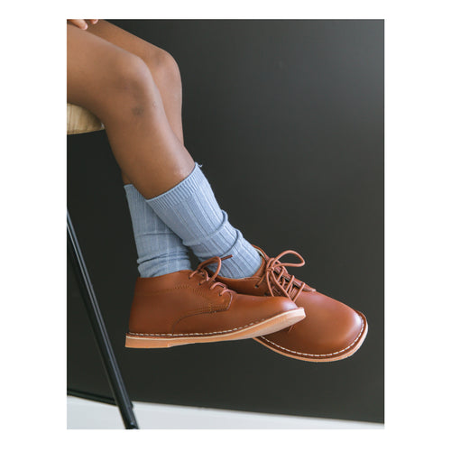 Tuck Stitch Down Mid-Top Lace Up Shoe