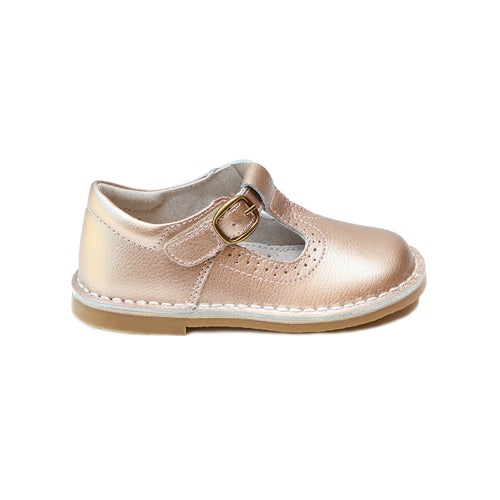 Frances Rosegold T-Strap Perforated Mary Jane - L'Amour Shoes