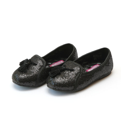 L'Amour Girls Alexandra Black Sequined Tassel Slipper - lamourshoes.com