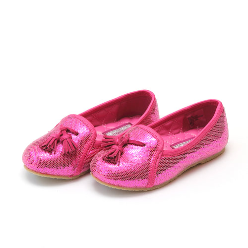 L'Amour Girls Alexandra Fuchsia Sequined Tassel Slipper - lamourshoes.com