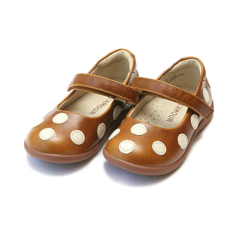 Mara Polka Dot Light Brown Mary Jane - L'Amour Mary Janes