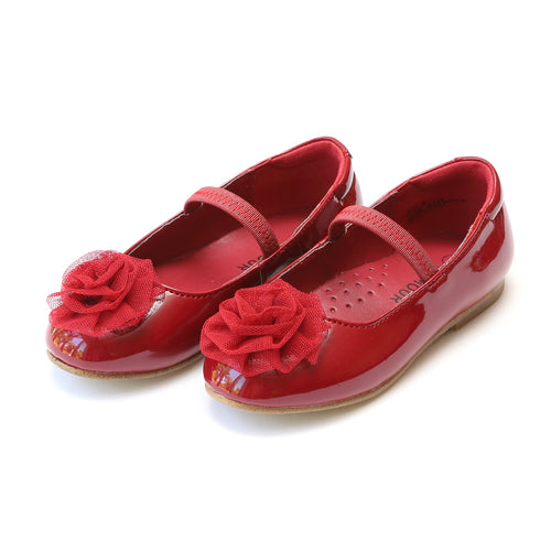 Marta Red Special Occasion Organza Rosette Flat - L'Amour Flats