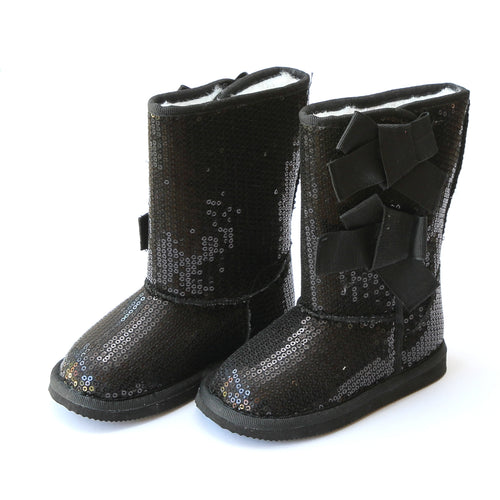 L'Amour Girls Briona Girl's Black Bow Sequin Boot - Lamourshoes.com