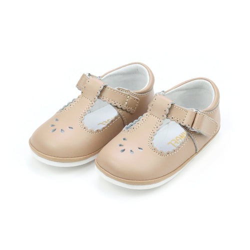 Dottie Scalloped Latte T-Strap Mary Jane (Baby) - Angel Baby Shoes