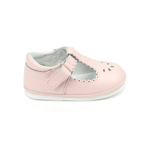 Dottie Scalloped Pink T-Strap Mary Jane (Baby) - Angel Baby Shoes