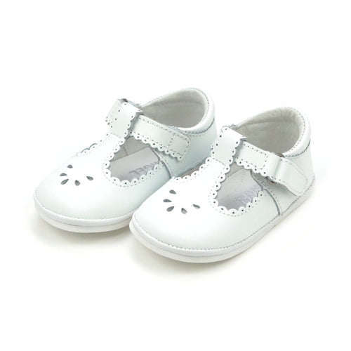 Dottie Scalloped White T-Strap Mary Jane (Baby) - Angel Baby Shoes