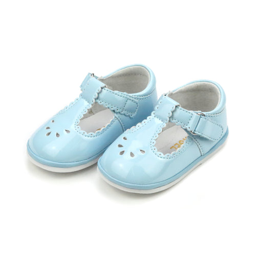 Dottie Patent Sky Blue Scalloped T-Strap Mary Jane (Baby) - Angel Baby Shoes - L'Amour Shoes