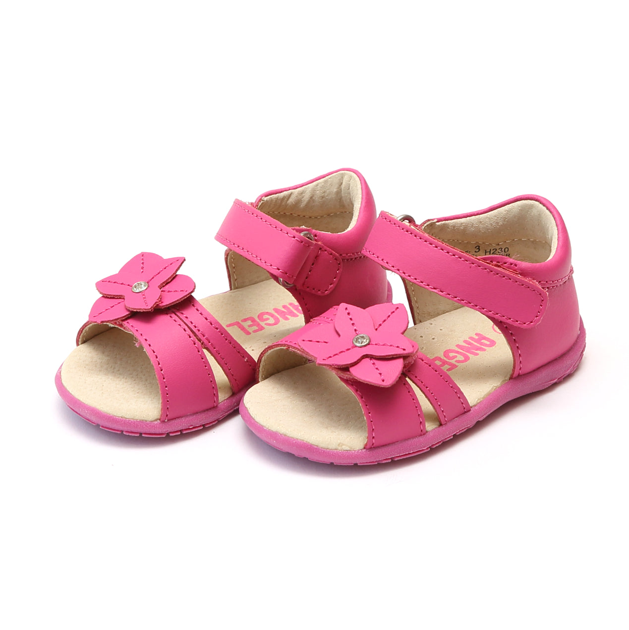 Angel Baby Girls Nancy Jeweled Flower Leather Sandal Lamour Shoes