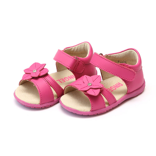 Angel Baby Girls Nancy Jeweled Flower Fuchsia Leather Sandal - Lamourshoes.com