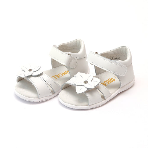 Angel Baby Girls Nancy Jeweled Flower White Leather Sandal - Lamourshoes.com