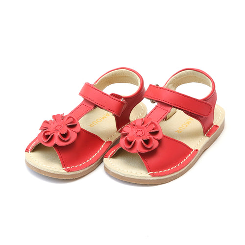 L'Amour Girls Suzanne Red Flower T-Strap Leather Sandal - Lamourshoes.com