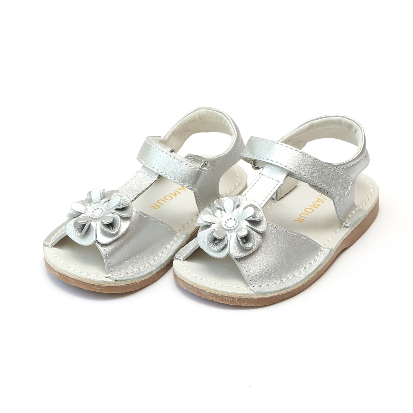 2003ceeac4f8 L Amour Girls Suzanne Flower T-Strap Leather Sandal – L Amour Shoes