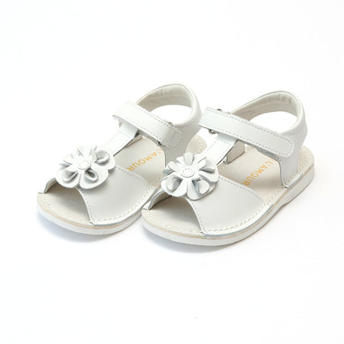 L'Amour Girls Suzanne White Flower T-Strap Leather Sandal - Lamourshoes.com