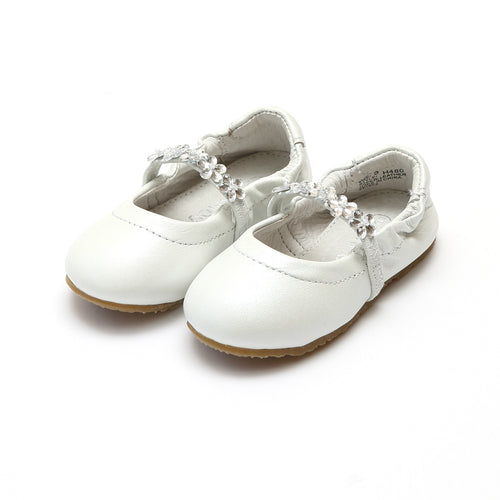 Perla White Special Occasion Jeweled Elastic Leather Flat - L'Amour Shoes
