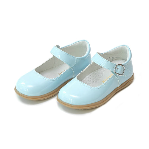 Chloe Classic Scalloped Patent Sky Blue Mary Jane - L'Amour Shoes